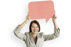 Businesswoman Communication Connection Copy Space Speech Bubble Stock Images