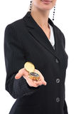 Businesswoman with compass Stock Image