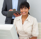 Businesswoman on a computer Stock Images