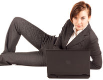 Businesswoman with computer Stock Photography