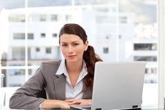 Businesswoman on the computer Royalty Free Stock Photos