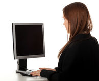 Businesswoman with computer Royalty Free Stock Photography