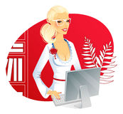 Businesswoman with computer Royalty Free Stock Photos