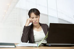 Businesswoman and computer Royalty Free Stock Photos
