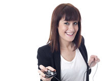 Businesswoman with computer mouse and coyspace Royalty Free Stock Photography
