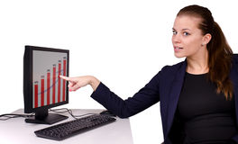 Businesswoman with computer Royalty Free Stock Image