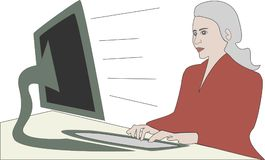 Businesswoman on computer screen in the office. Woman is working in office on computer screen, business woman Royalty Free Stock Images