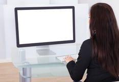 businesswoman computer using Στοκ εικόνες με δικαίωμα ελεύθερης χρήσης