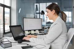 Businesswoman with computer working at office stock photos