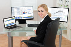 Businesswoman With Computers Display Showing Graphs Royalty Free Stock Photo