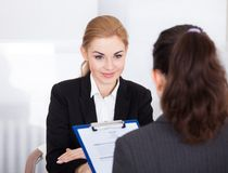 Businesswoman conducting interview Royalty Free Stock Photos