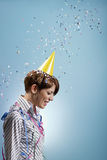 Businesswoman with confetti Stock Photos