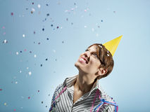 Businesswoman with confetti Royalty Free Stock Photo