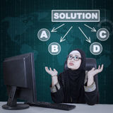 Businesswoman confused to choose solution. Image of Arabic business woman confused to choose one of the solutions with many options royalty free stock photography