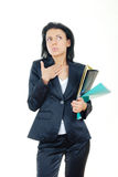Businesswoman in confusion. With pen and documents Stock Photography
