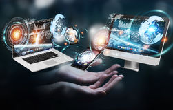 Businesswoman connecting tech devices to each other 3D rendering Stock Photo