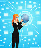 Businesswoman connecting to globe Royalty Free Stock Photography