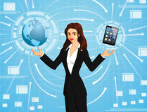 Businesswoman connecting to world Stock Photos