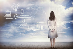 Businesswoman considering a brainstorm. In cloudy desert setting Royalty Free Stock Photography
