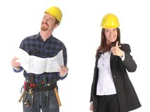 Businesswoman and construction worker Stock Photos