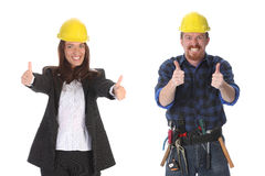 Businesswoman and construction worker Stock Photography