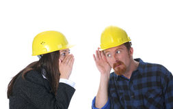Businesswoman and construction worker Royalty Free Stock Images