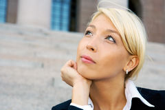 Businesswoman contemplating Royalty Free Stock Photos