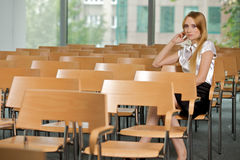Businesswoman contemplating at conference room in office royalty free stock photo