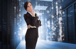 Businesswoman contemplating in data center royalty free stock image