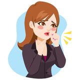 Businesswoman Coughing. Illustration of young businesswoman coughing with fist in front of mouth and hand on neck royalty free illustration