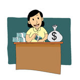 Businesswoman counting money. Cartoon illustration of a businesswoman counting money stock illustration