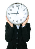 Businesswoman Covering Head With Clock Show 9 Royalty Free Stock Images