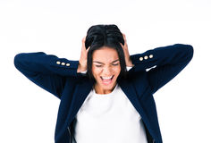 Businesswoman covering her ears Stock Image