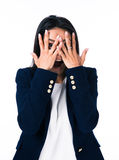 Businesswoman covering her eyes with hands Royalty Free Stock Photography
