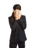 Businesswoman covering her face because of shame Stock Images