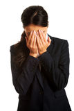 Businesswoman covering her face Royalty Free Stock Photos