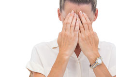 Businesswoman covering her face Royalty Free Stock Photography