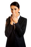 Businesswoman covering her mouth Stock Photos