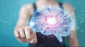Businesswoman creating artificial intelligence in a digital brai Stock Illustration