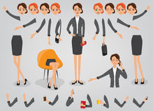 Businesswoman creation set build your character. Businesswoman character creation set build your own design cartoon flat-style infographic Royalty Free Stock Images