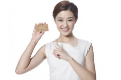 Businesswoman with credit card Royalty Free Stock Images