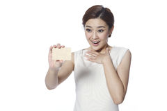 Businesswoman with credit card Stock Images