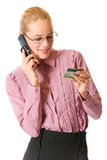 Businesswoman with credit card Stock Photo