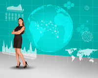 Businesswoman with crossed arms and Earth Stock Photos