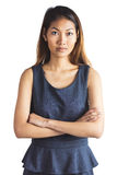 Businesswoman with crossed arms. On white background Stock Photo