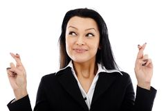 Businesswoman with crossed fingers sign Royalty Free Stock Photography