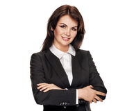 Businesswoman with crossed hands Royalty Free Stock Photography