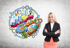 Businesswoman with crossed hands Royalty Free Stock Image
