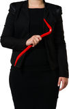 Businesswoman with a crowbar Royalty Free Stock Image