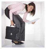 Businesswoman in the cube Stock Photos